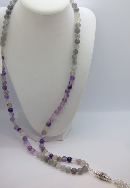 Dark Gray fluorite-and-cloud-quartz-long-necklace neck Fluorite and Cloud Quartz Long Necklace