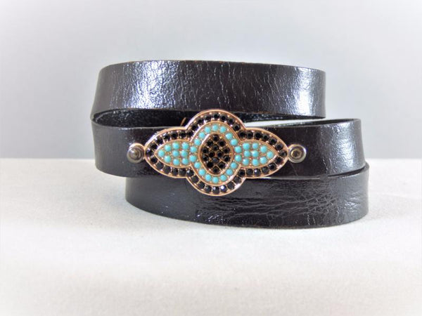 Black Leather Wrap Bracelet with a Micro Pave Riveted Embellishment