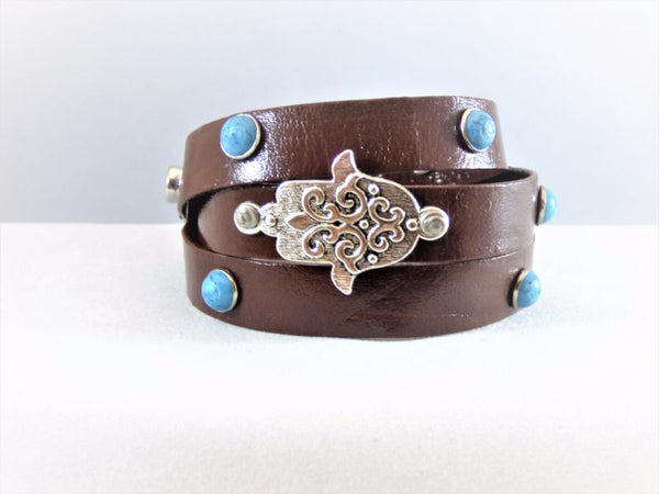 Dim Gray leather-hamsa-bracelet-with-turquoise-studs Bracelet Leather Hamsa Bracelet with Turquoise Studs