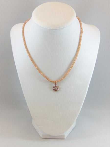 Copper Star of David with a Copper Knitted Necklace Bat Mitzvah