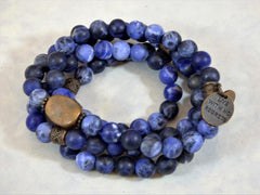 Sodalite wrap bracelet blue buddha live with no regrets charm