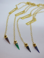Gray gold-gemstone-point-lariats Necklace Gold Plated Gemstone Point Lariats