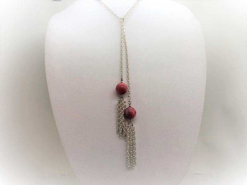 Dark Gray red-coral-lariat Necklace Red Coral Lariat