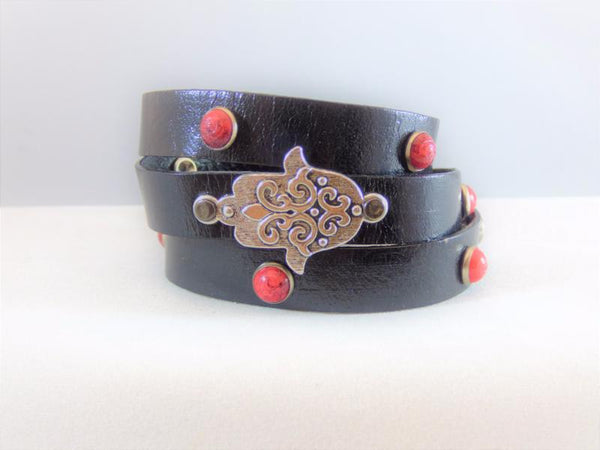 black-leather-with-red-turquoise-with-a-hamsa