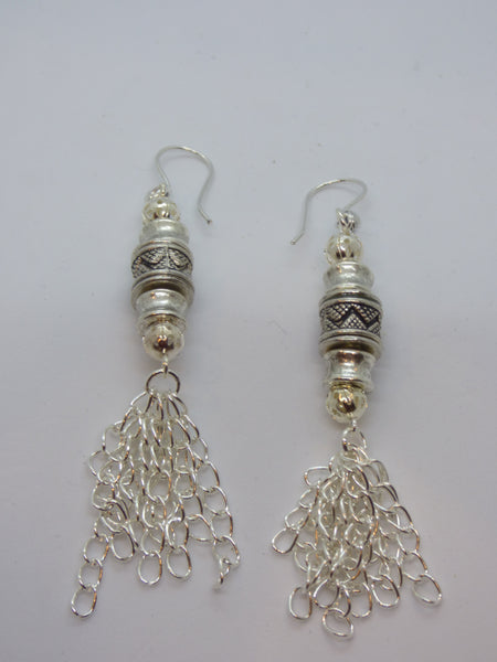 Dim Gray Silver Tassel Earrings silver-tassel-earrings Earrings