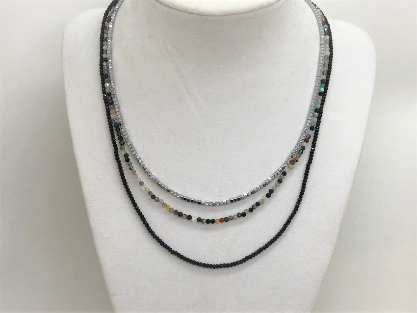 Triple Gemstone Short Necklace with Onyx, Mixed Quartz and Silver Hematite