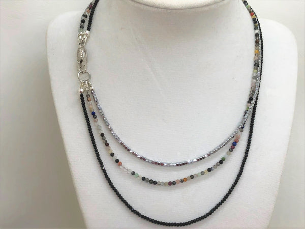Dark Gray triple-gemstone-short-necklace-with-mixed-quartz-and-silver-hematite Necklace Triple Gemstone Short Necklace with Onyx, Mixed Quartz and Silver Hematite