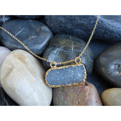 Slate Gray Double Hang Druzy double-hang-druzy Necklace