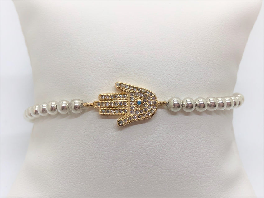 Hamsa Stretch bracelet on Gold Fill or Sterling Silver Bracelets Bat Mitzvah Gift