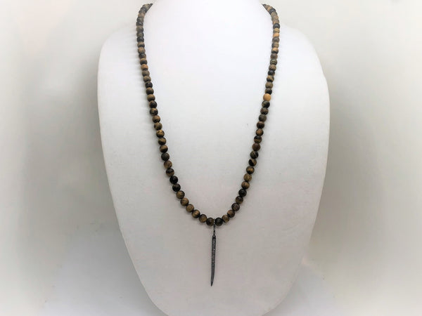 Dark Gray Tiger Eye Necklace with Interchangeable Pendants tiger-eye-necklace-with-a-micro-pave-crescent-moon Necklace
