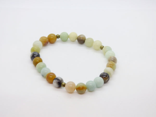 Tan amazonite-and-ocean-jasper-single-bracelet Bracelets Amazonite and Ocean Jasper Single Bracelet