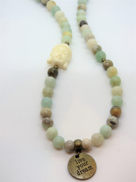 Lavender amazonite-and-ocean-jasper-wrap Necklace, Bracelet Amazonite and Ocean Jasper Wrap