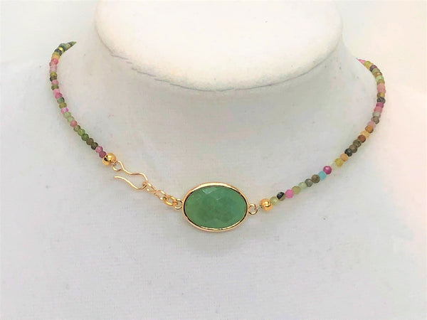 Mini Tourmaline 3mm stones surround a gold plated faceted aventurine short choker necklace with adjustable clasp