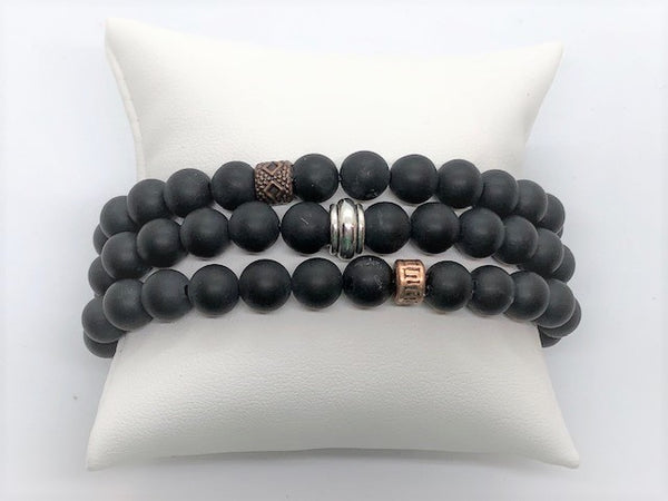 Black black-matte-agate-stretch-bracelet Bracelet Black Matte Agate Men's Stretch Bracelet