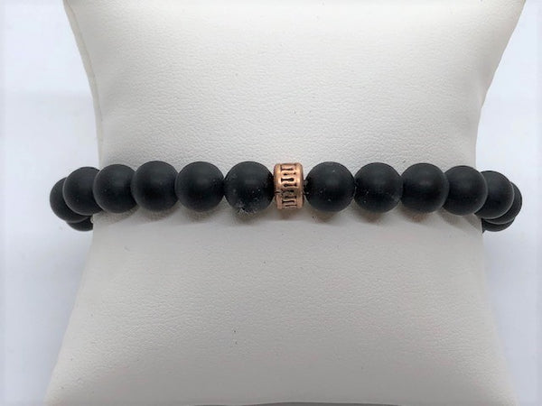 Matte black agate unisex men's women's stretch bracelet
