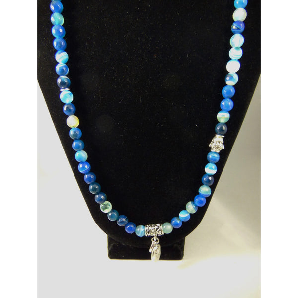 Black blue-agate-wrap Necklace, Bracelet Blue Agate Wrap