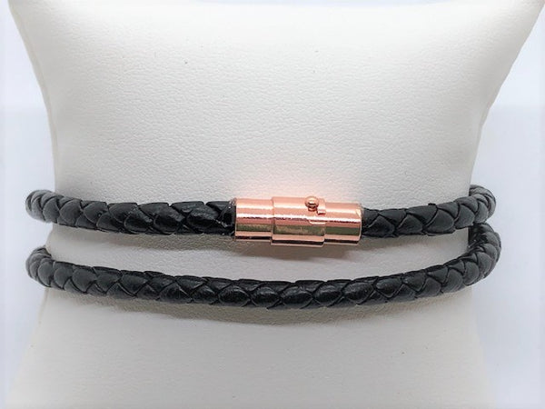 Light Pink Braided Black Leather Men's Wrap Bracelet braided-black-leather-wrap-bracelet Bracelet