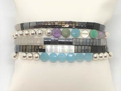 Silver Stretch with Multi and Chalcedony Flat Coin Bracelet Stacking with Tila Stretch Bracelets