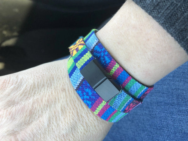 Steel Blue Fun and Funky Vegan Leather Backed Cloth Bracelet fun-and-funky-leather-backed-cloth-wrap Bracelet