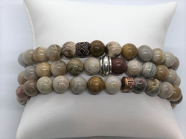 Jasper Earth Tone stretch men's unisex women's bracelets