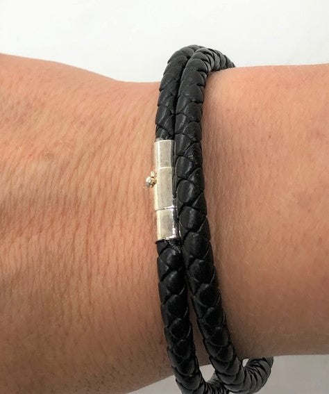 White Smoke Braided Black Leather Men's Wrap Bracelet braided-black-leather-wrap-bracelet Bracelet
