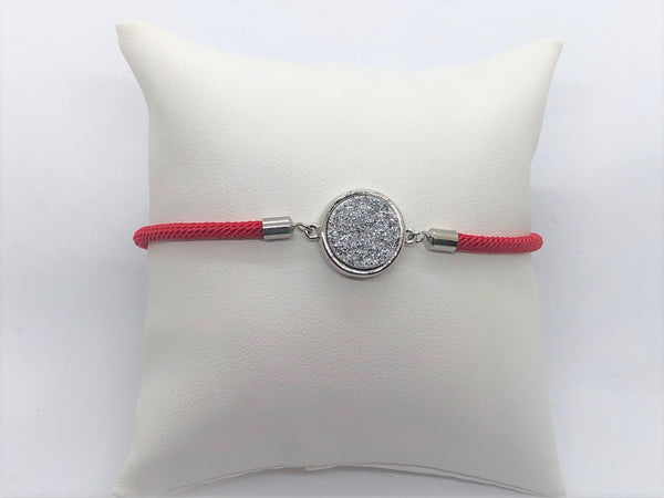 Adjustable Silver Druzy Bracelet - Emmis Jewelry,