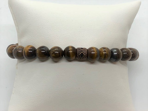 Dark Gray Tiger Eye Stretch Men's Bracelet tiger-eye-stretch-bracelet Bracelet