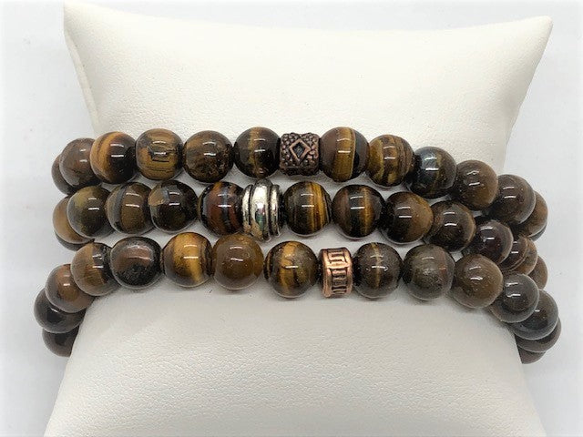 Tiger Eye men's women's unisex stretch gemstone bracelet