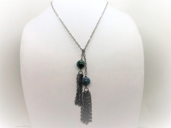 Gray turquoise-lariat Necklace Turquoise Lariat