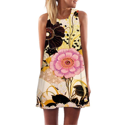 Rose Print Sleeveless Summer Dress