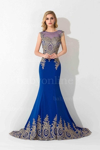 Royal Blue Long Mermaid Evening Dresses, special occassion party wearing