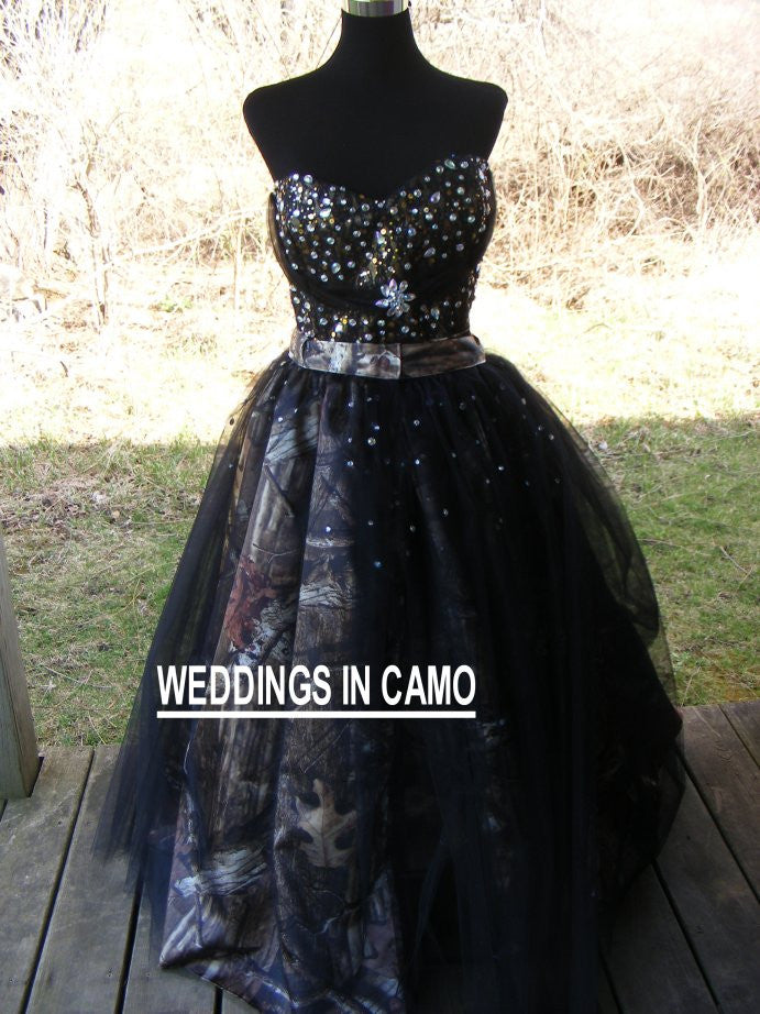 CAMO PROM Dress+Beaded CAMO Dress+Short Camo Dress with Overskirt