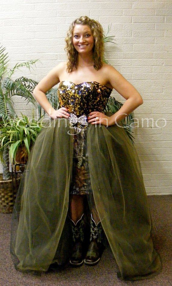 CAMO Dress+strapless with SEQUINS+ Full Princess Skirt and Rhinestone Buckle