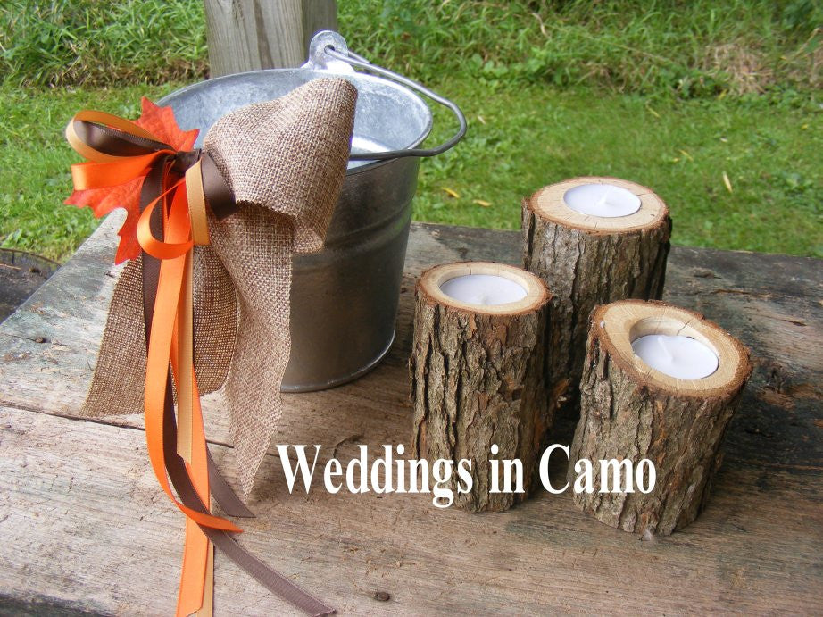 Wooden candles+RUSTIC wedding candles with tea lights COUNTRY RUSTIC