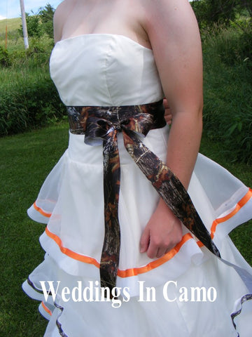 CAMO RIBBON sash add to WEDDING dress+Bridesmaid dress