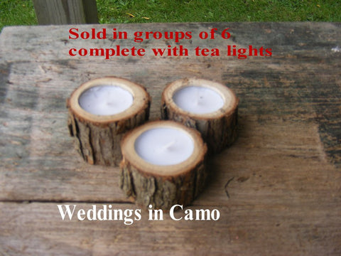 Wooden candles with tea lights+COUNTRY RUSTIC wedding decorations