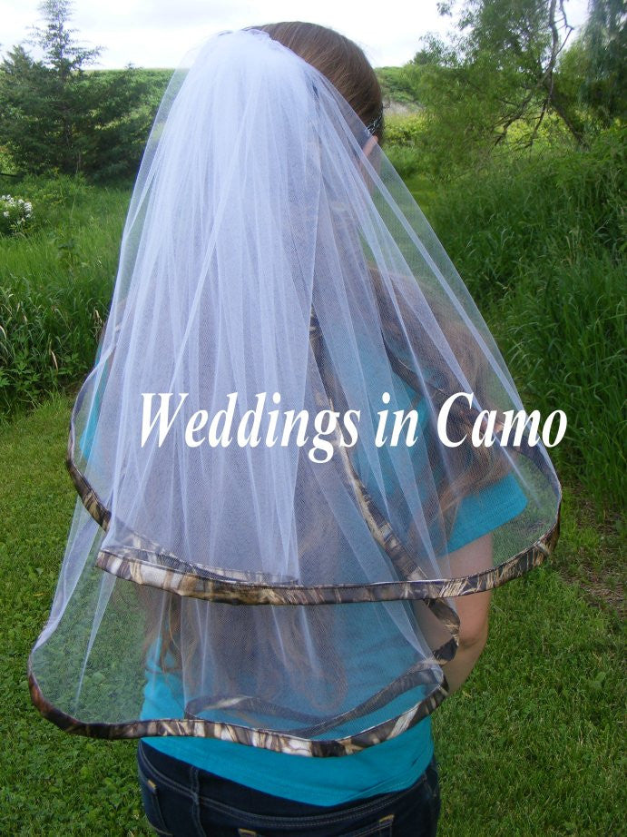 CAMO VEIL+Double Layer+Satin Ribbon Trimmed Veil