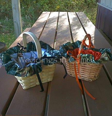 CAMO Flower Girl BASKET YOU PICK the colors