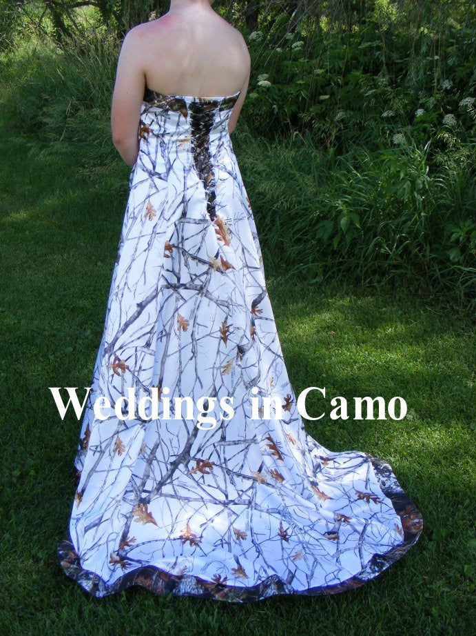 Weddings in camo exclusively made in the usa bridal attire for Snow camo wedding dresses