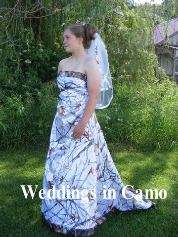 CAMO Wedding Dress CORSET Back SNOWFALL and Mossy Oak