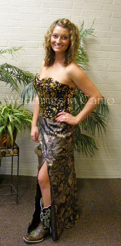 CAMO Prom Dress+Sequined top+long skirt