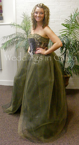 CAMO skirt+Tulle Princess Skirt+overskirt with Rhinestone Buckle