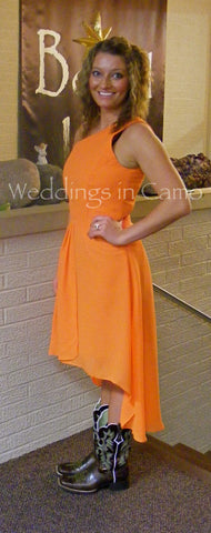 BRIDESMAID dress+high low hemline+ in Country wedding colors