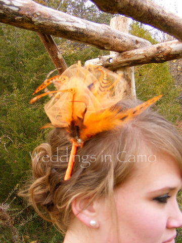 Feather Colored tulle Rhinestones Fascinator