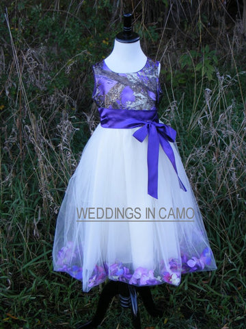 CAMO FLOWER GIRL Dress+flowers or leaves in tulle