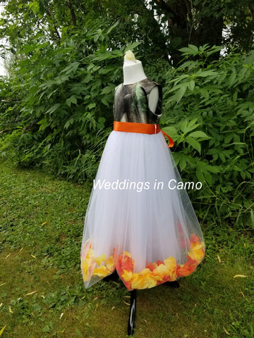 CAMO flower girl dress with leaves or flowers  CUSTOM
