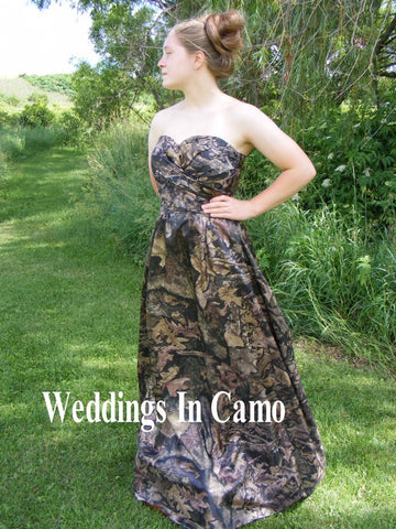 CAMO Bridesmaid, long CAMO formal, Country dress