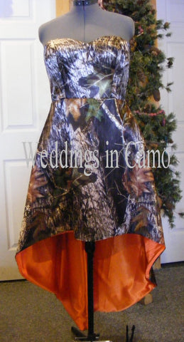 CAMO DRESS strapless+High low hemline+CORSET back+underskirt another color