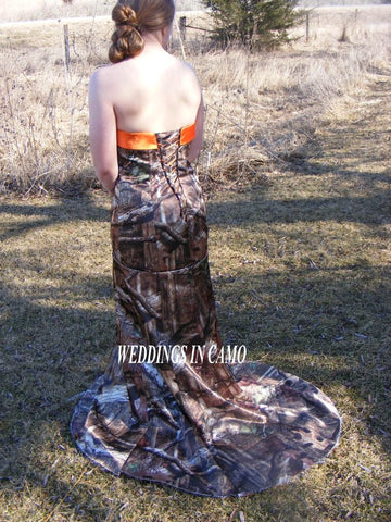 CAMO DRESS trumpet style+PLUS size 16 to 24+CORSET back+ Flare bottom and train