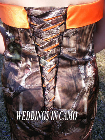CAMO CORSET TIES in all colors and accented with a solid color